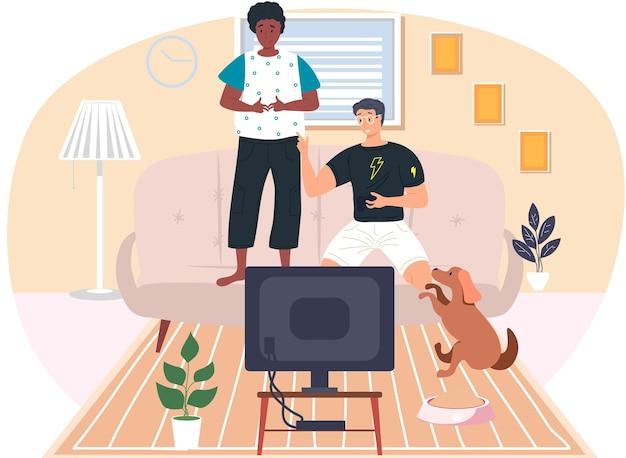 Ребята друзья играют в видеоигры. молодые люди играют с контроллером геймпада, держа в руках джойстик