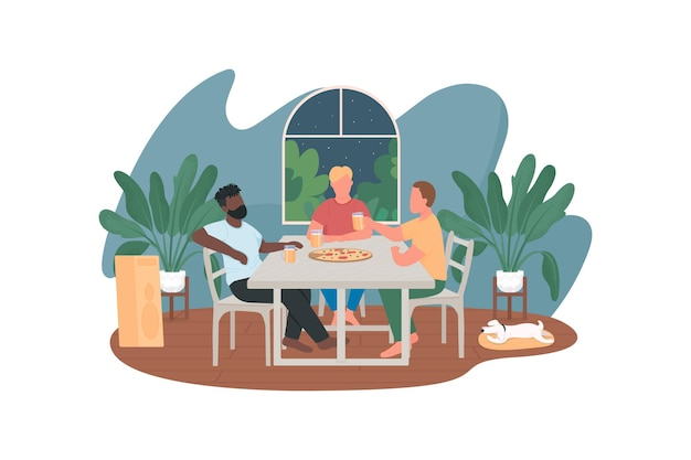 Guys hanging out and drinking at home flat characters on cartoon background.