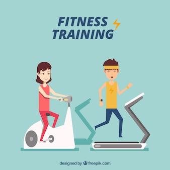 Guys training in a treadmill