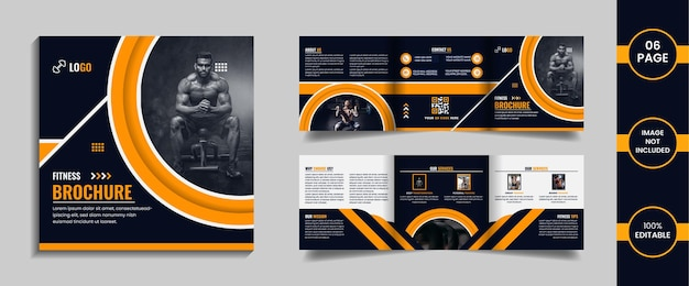 Gym 6 page square trifold brochure design template with yellow color abstract shapes and data.