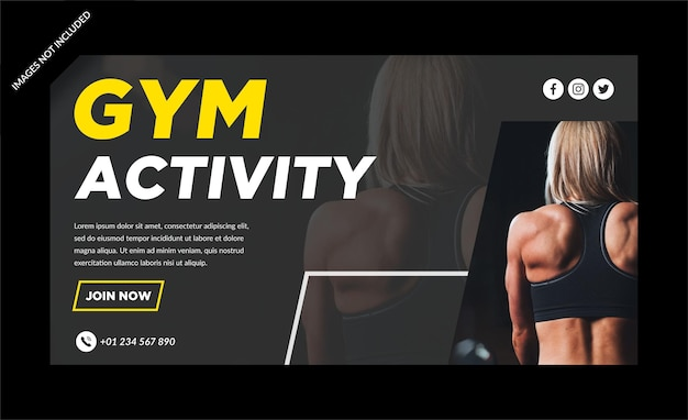 Gym activity facebokweb banner template