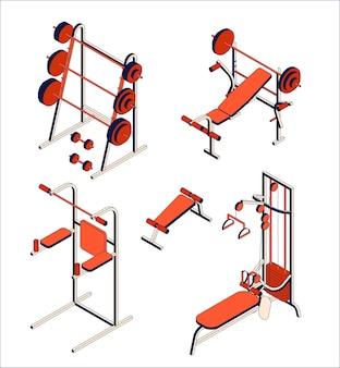 체육관 및 피트니스 클럽 장비 컬렉션. 훈련기구의 아이소 메트릭 세트