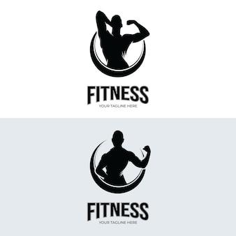 Тренажерный зал и фитнес-дизайн логотипа иллюстрации