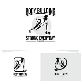 Тренажерный зал и фитнес-логотип дизайн иллюстрации