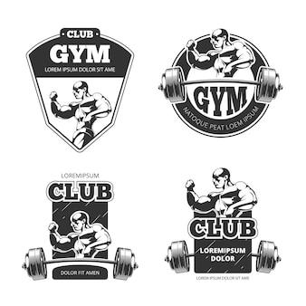 체육관 및 피트니스 로고. 스포츠, 피트니스 체육관, 보디 빌딩 체육관 로고.