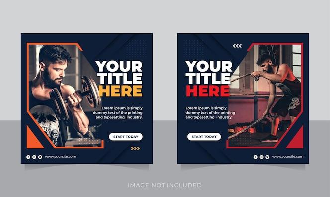 баннер или квадратный флаер для спортзала и фитнеса в социальных сетях