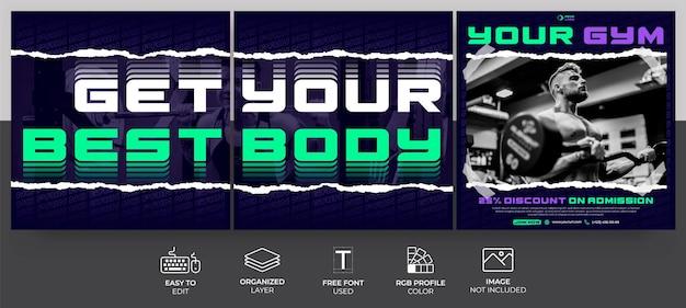 Шаблон сообщения в социальных сетях для тренажерного зала и фитнеса для маркетинга, продвижения