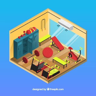 Gym background with exercise machines in isometric style