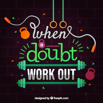 Gym background with motivational phrase