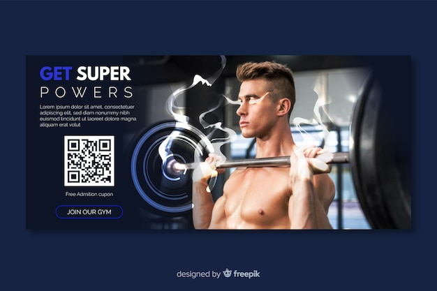 Gym banner or horizontal flyer template with photo
