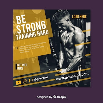 Gym banner or square flyer template with photo