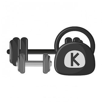 Gym barbell dumbbell and kettlebell