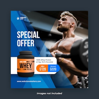 Gym body building and fitness product square instagram banner template