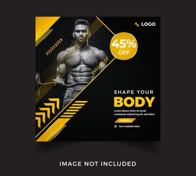 Набор плакатов в социальных сетях для тренировки тела в тренажерном зале