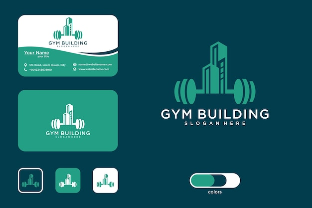 Дизайн логотипа здания спортзала и визитная карточка