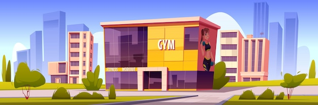 Gym building, modern sport house in summer town