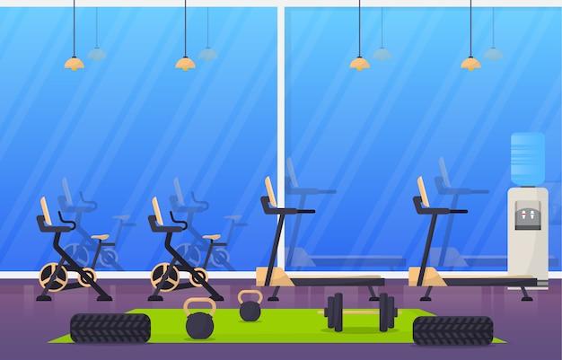 체육관 센터 인테리어 스포츠 클럽 피트니스 무게 보디 빌딩 장비 일러스트 레이션