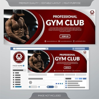 Gym club banner template or facebook cover
