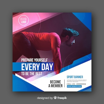 Gym club banner with photo