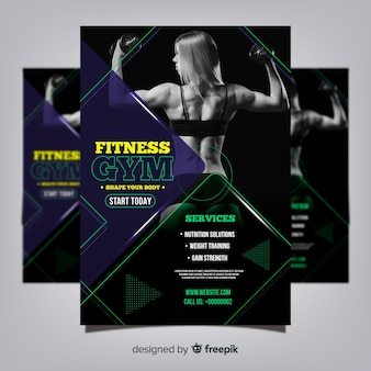 Gym club flyer template with photo