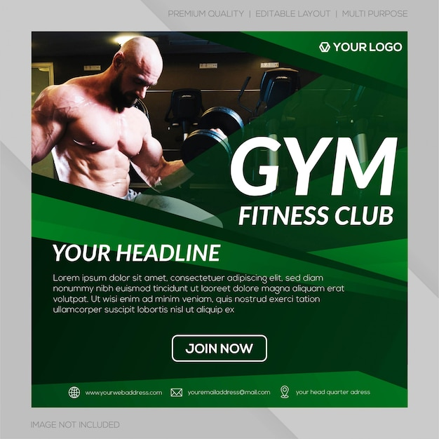Gym club instagram post template