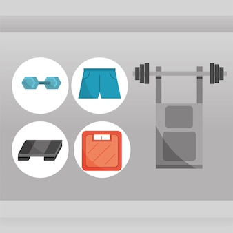 Gym equipment icons set bench press with weight barbell sportswear scale in flat style vector illustration