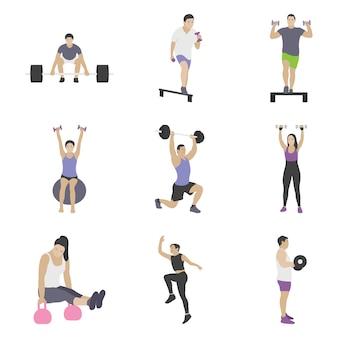 Gym exercises icons