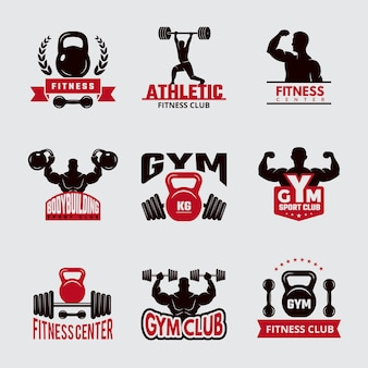 Gym fit badges. sport fitness healthcare logo athletic club emblems  collection.