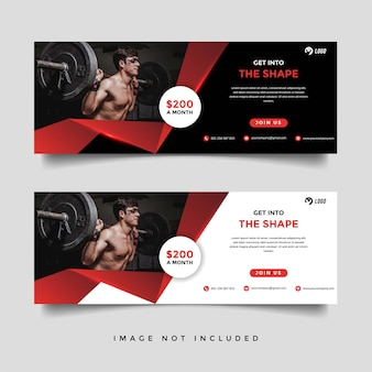 Gym and fitness banner promotion template