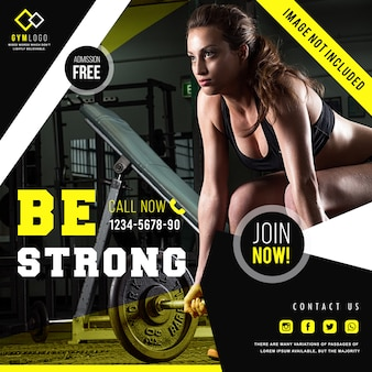 Gym fitness banner template or instagram post