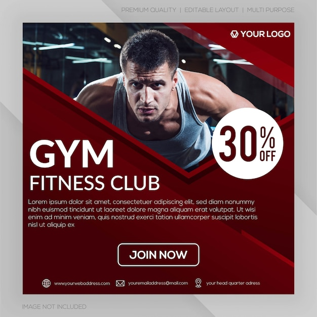 Gym fitness club square banner template or instagram post advertising