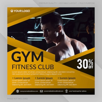 체육관 휘트니스 클럽 사각형 배너 템플릿 또는 instagram 게시물 광고