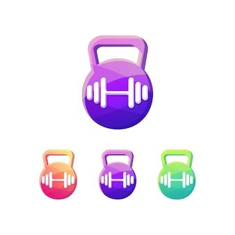 Gym fitness dumbbell logo set
