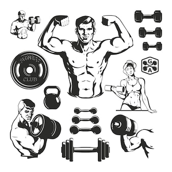 Set di elementi di fitness palestra