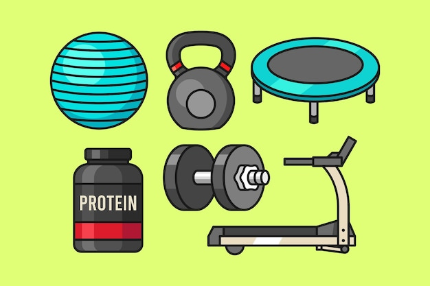 Gym and fitness equipment set
