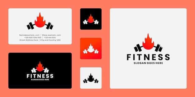 Тренажерный зал фитнес огонь дизайн логотипа минималистский