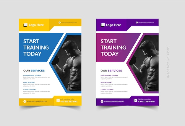 Gym and fitness flyer design template premium vector