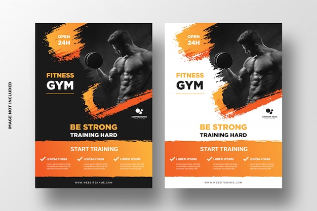 Gym / fitness flyer template with grunge shapes