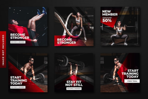 Gym & fitness instagram post template collection.
