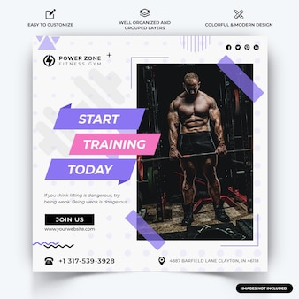 Gym and fitness instagram post web banner template vector premium vector