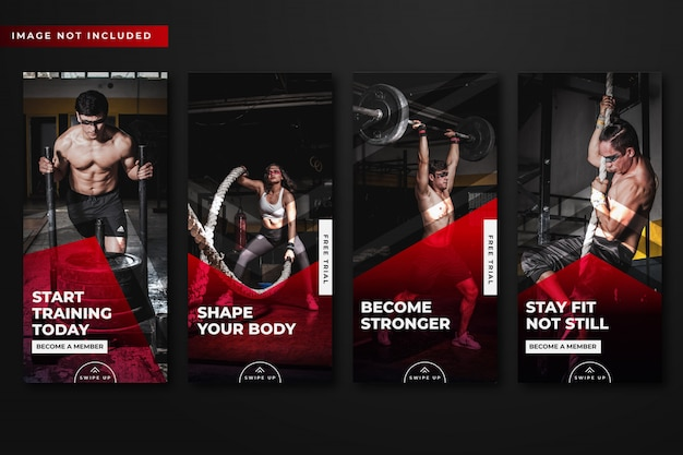 Gym & fitness instagram stories template collection .