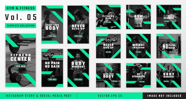 Gym & fitness instagram story and social media post template collection