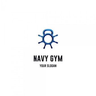 Gym fitness logo with ship's wheel and  kettle