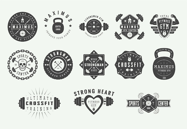 Gym fitness logos, vintage emblems.