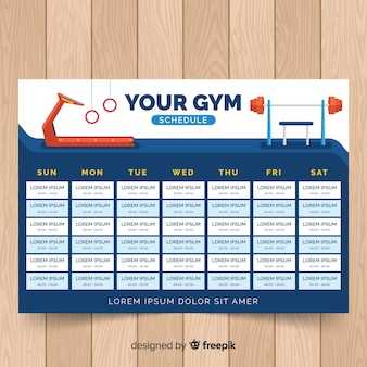 Gym or fitness schedule template