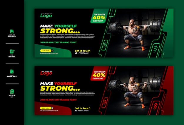 Gym and fitness social media banner facebook cover template premium