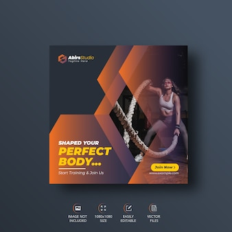 Gym or fitness social media banner or  square flyer   template