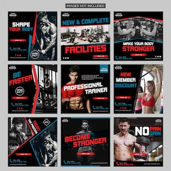 Gym fitness social media instagram post pack design template premium vector