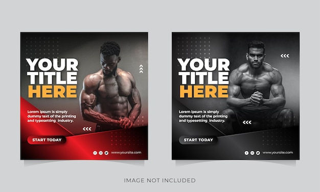 Gym and fitness social media post banner or square flyer template