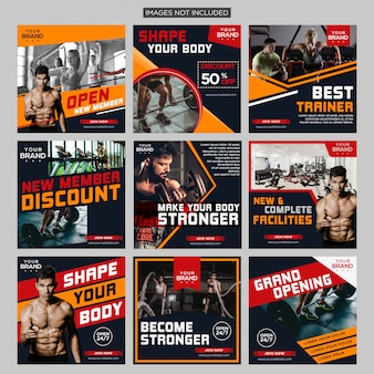 Gym fitness social media post bundle design template premium vector
